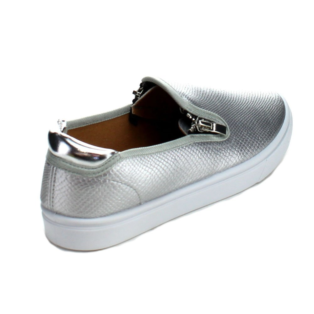 Color:SILVER Qupid ZING-04 Womens Step In Casual Zipper Decor Loafer Shoes Size:8.5