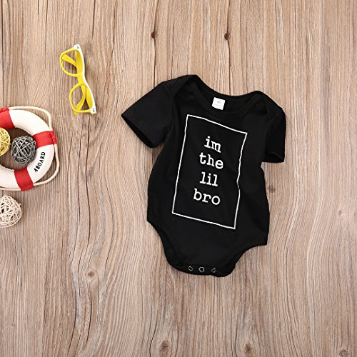 Newborn Baby Boys Little Brother Romper Jumpsuit Bodysuit Clothes Outfits (0-3 Months)
