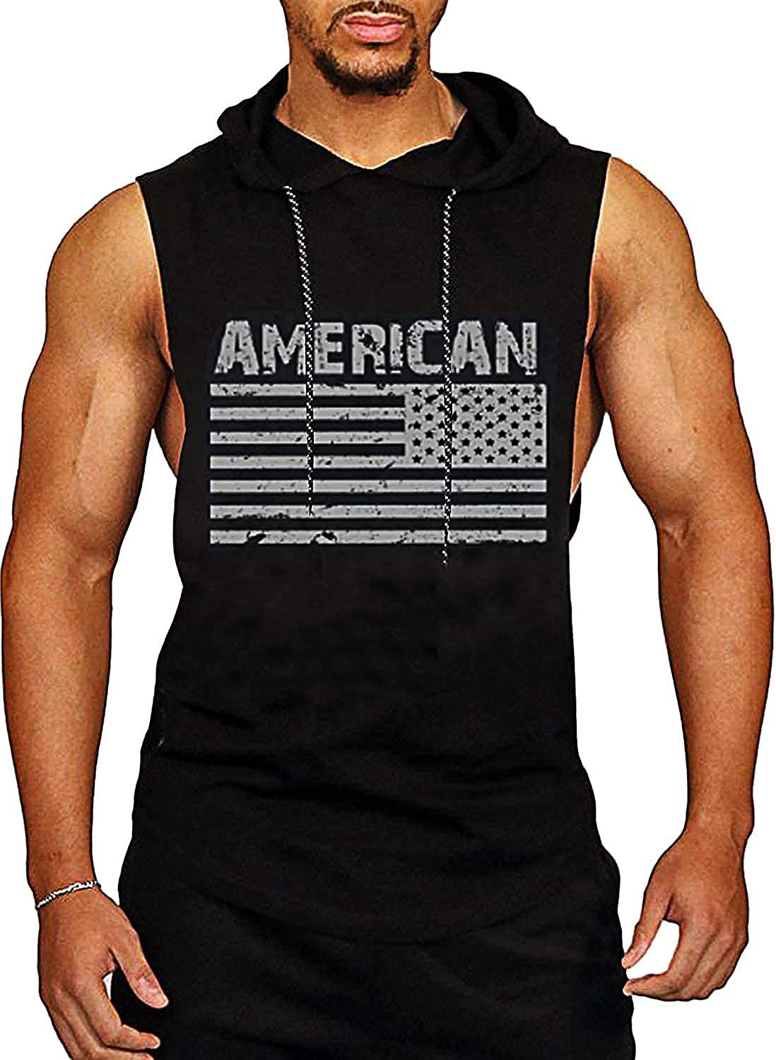 PAIZH Mens Gym Hooded Tank Top Workout Bodybuilding Sleeveless Muscle Hoodies