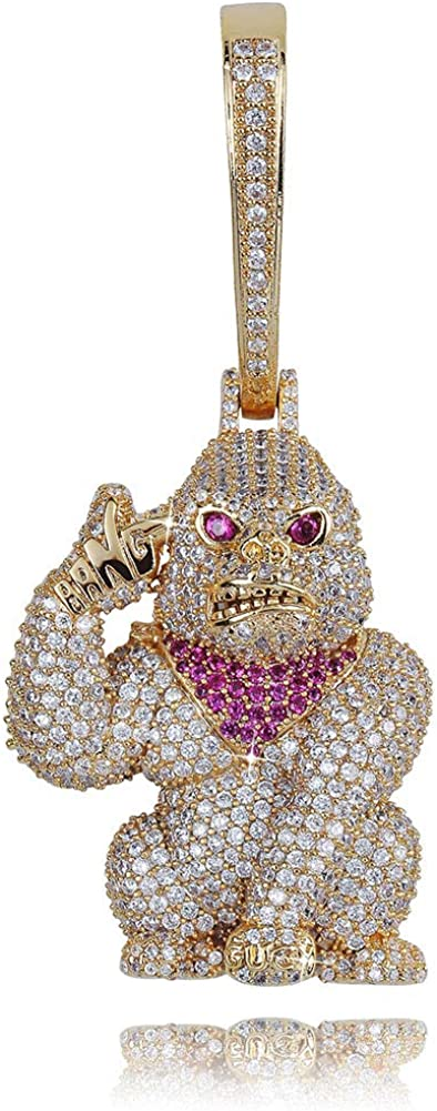 GUCY Hip Hop Jewelry Iced Out Bling Big Monkey Pendant Chain Animal Necklace for Women Men(Gold/Silver)