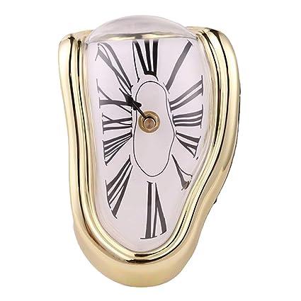 D DOLITY Reloj Derretido Adorno Ornamento Decorativo para Hogar Estante - Oro