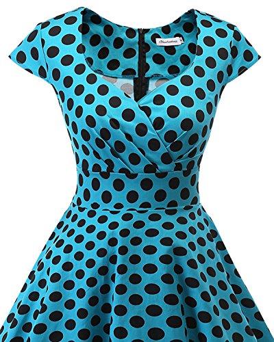 Retro Mujer Años Vestido Bbonlinedress Bdot Pico Escote Blue Black Corto 50 Vintage En 4qEtItA
