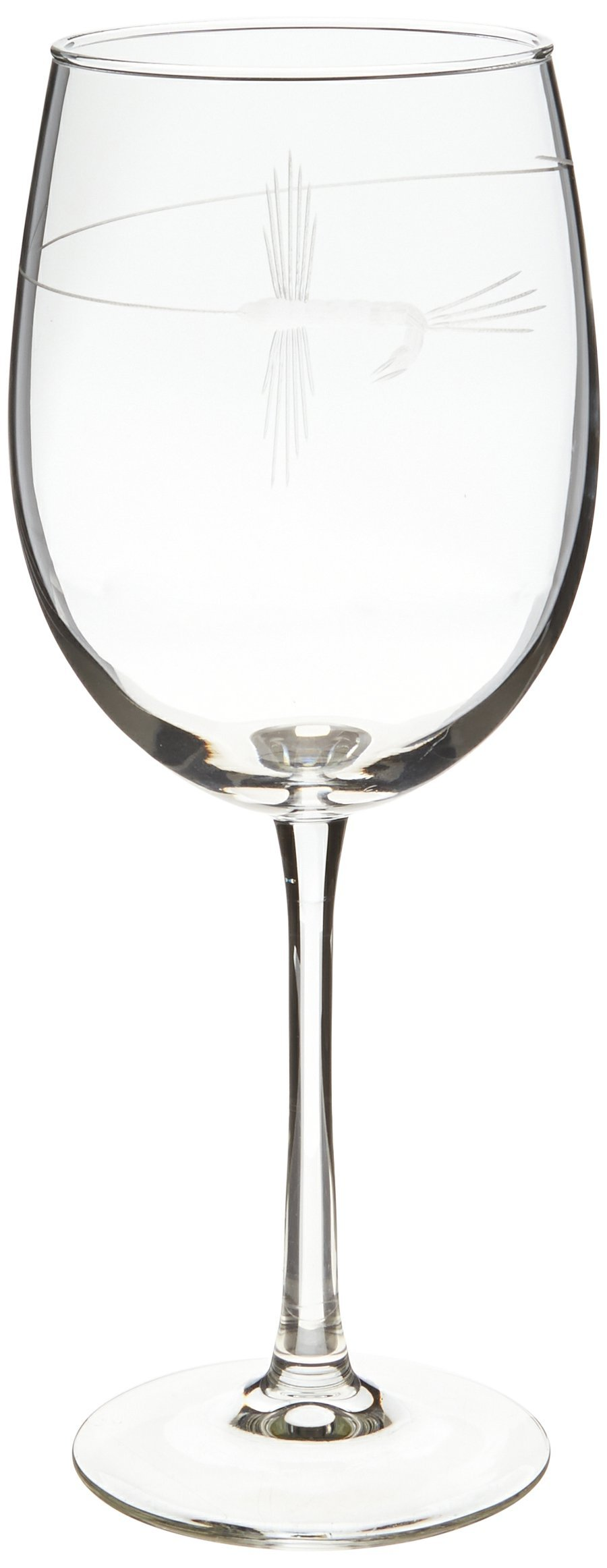 Rolf Glass Etched Fly Fishing All Purpose Large Wine Glass (Set of 4), 19 oz, Clear