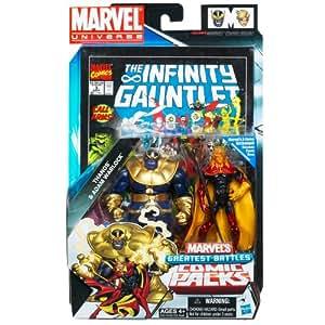 Hasbro Marvel - Juego de figuras de acción (9,5cm), diseño de Thanos y Adam Warlock de Marvel