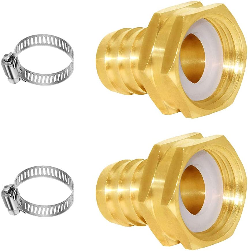 Joywayus Garden Hose Pipe Connector 1 2 Barb X 3 4 Male Ght Thread Brass Fitting With Stainless Clamp House Boat Lawn Power Wash Irrigation Watering Equipment Parts Connectors