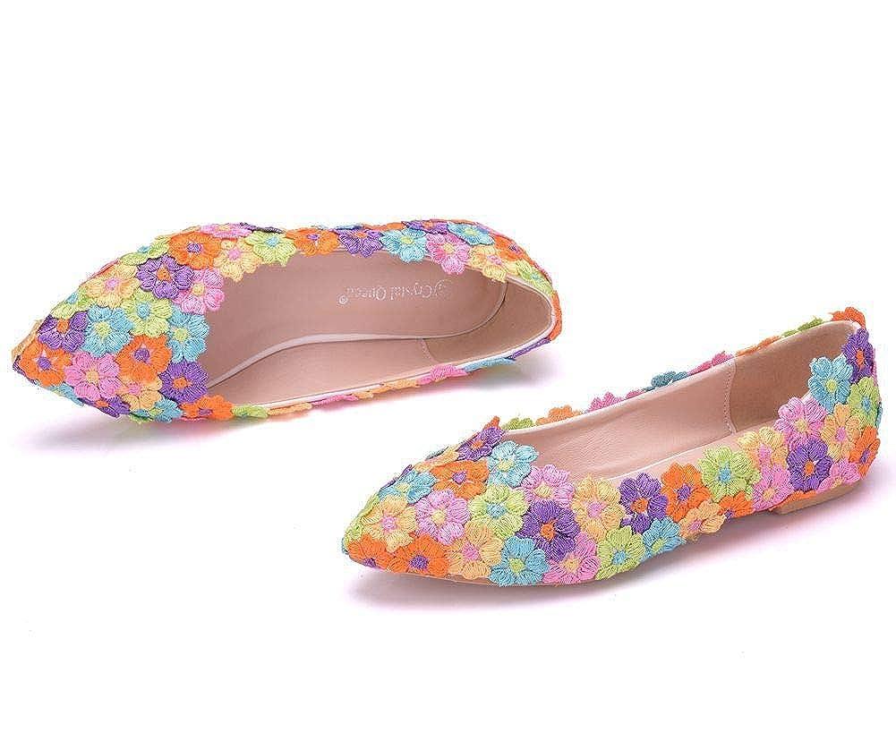Flower-Ager 01Rail Frauen Wohnungen Balletts Schuhe Spitz Hochzeit Kleid Wohnungen Plus Größe Hochzeit Kleid Hochzeit Schuhe 06c106