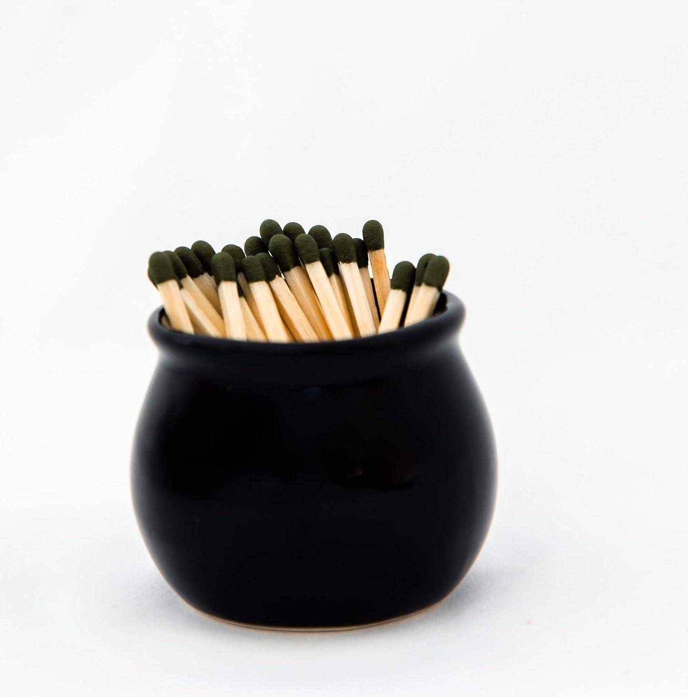 V JANE DESIGN Ceramic Match Striker, Black Matchstick Holder with Striker On Bottom. Cute Matches for Fireplace Match Holder | Bathroom Match Striker Storage Jar for Modern Bathroom Decor.