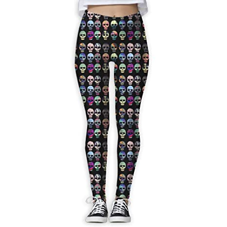 4aec71efb0932 Colorful Sugar Skull Women's Tummy Control Sports Running Yoga Workout  Leggings Pants S
