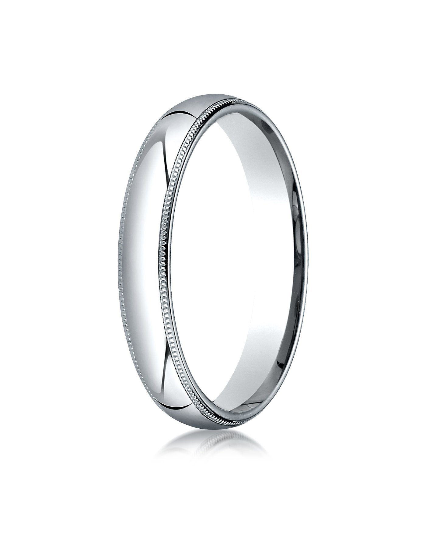 Mens Platinum, 4mm Slim Profile Comfort-Fit Ring with Milgrain (sz 8)