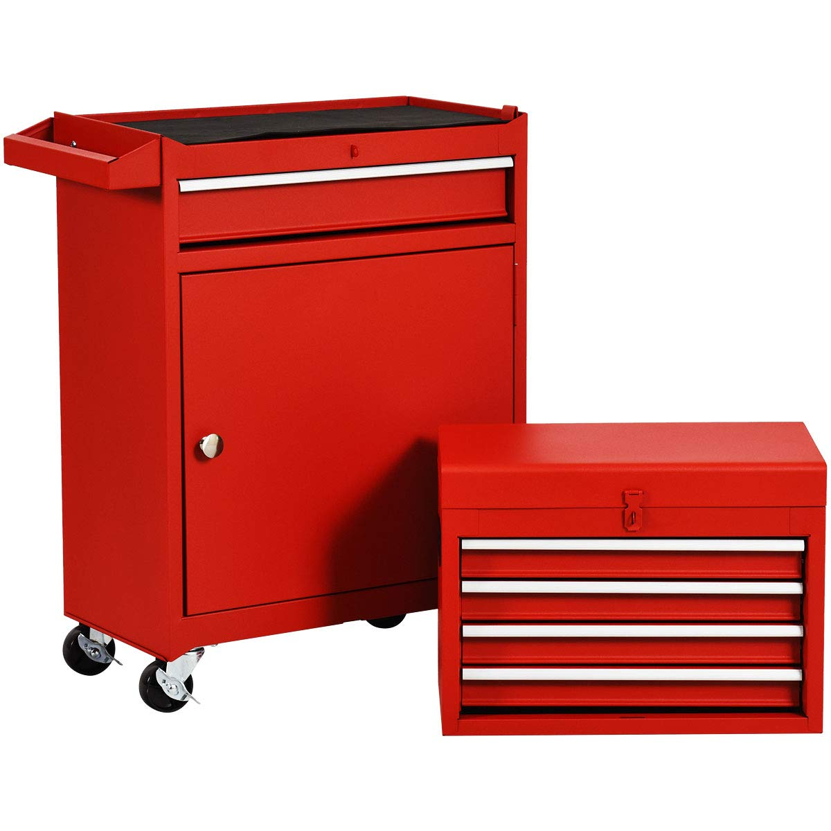 Rolling Tool Chest, Removable Tool Cabinet, Metal Box w/ 5 Drawers (Red)