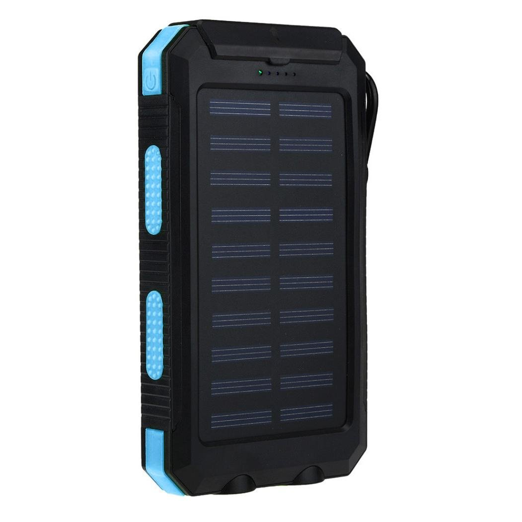 DZT1968 Waterproof 20000mAh 1.2W Dual USB Portable Solar Charger Solar Power Bank For Phone 1387619MM (Blue)