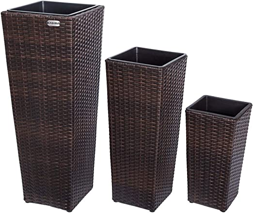 Deuba Set de 3 Macetas para Plantas Flores de Poliratán Marrón con Drenaje 3 tamaños para jardín balcón Interior Exterior: Amazon.es: Jardín