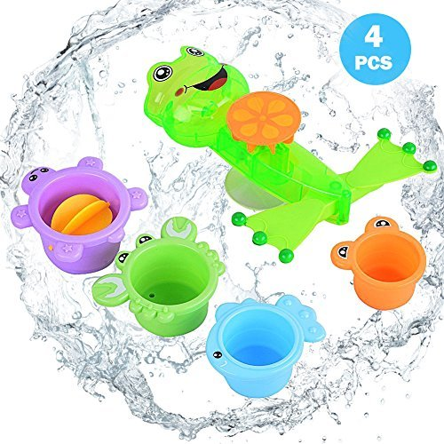 Sakiyr 4 Piece Stacking Bath Cups Sea Animal Stacking Cups Splash Bath Tub Toys For Baby With Frog Set