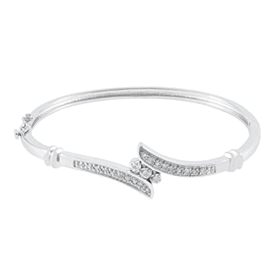 Review JewelExclusive Sterling Silver1/4cttw Natural Round-Cut Diamond (J-K Color, I2-I3 Clarity) Bypass Bangle Bracelet