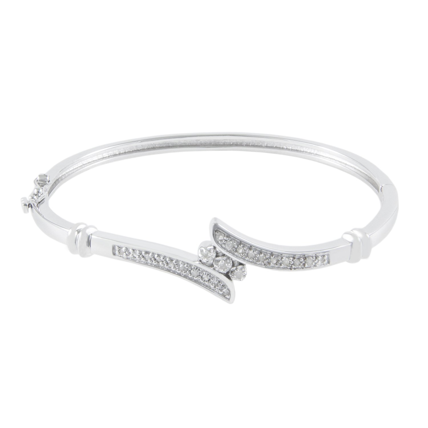 JewelExclusive Sterling Silver1/4cttw Natural Round-Cut Diamond (J-K Color, I2-I3 Clarity) Bypass Bangle Bracelet by JewelExclusive