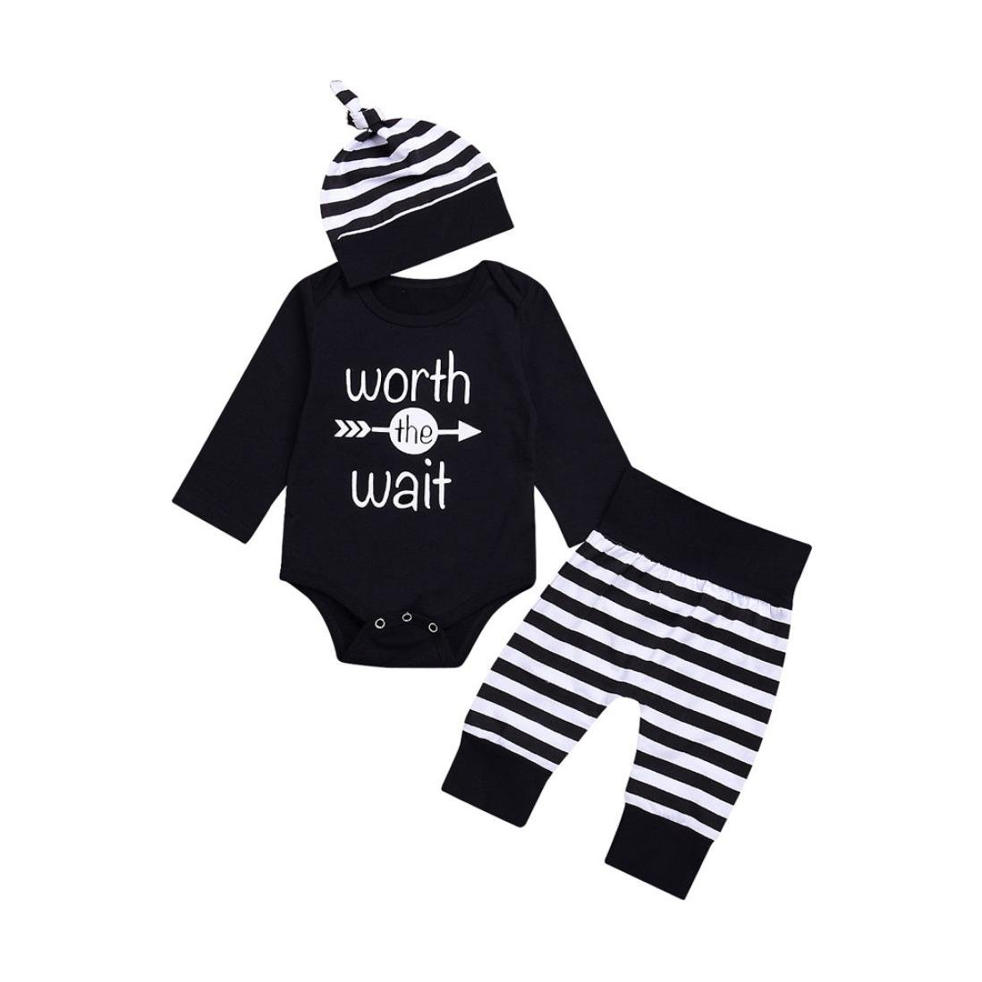 Perman 3PCS Baby Boys Letter Romper Tops+Stripe Pants Hat Set PM-919