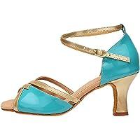 Zhuhaixmy Zapatos de Baile Latino de High Heel para Mujer Lady Correa de Tobillo Estilete de Piel de Vaca Partido Interior Tango Bachata Shoes