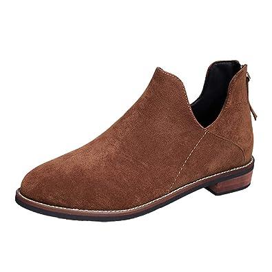 Botines Mujer,Beikoard Mujeres De Pie Redondo Zapatos De Color Puro Botines Cremallera Zapatos De Tacón Cuadrado Botas,Botas De Gamuza De Fondo Plano: ...