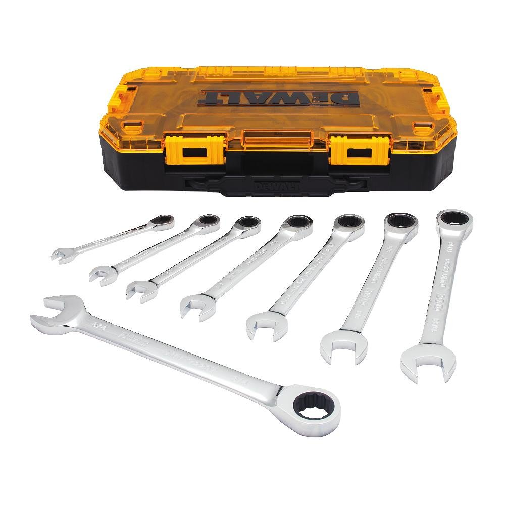 DEWALT Combination Ratcheting Wrench Set, 8-Piece SAE (DWMT74733) by DEWALT