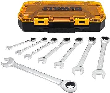 cabeza flexible juego de herramientas de reparaci/ón con funda de transporte 7 piezas llave combinada de trinquete multifuncional Juego de llaves combinadas