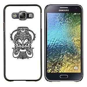 LECELL--Funda protectora / Cubierta / Piel For Samsung Galaxy E5 E500 -- Tinta Arte Negro Blanco Tatuaje --