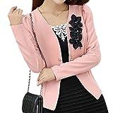 TOOGOO(R) giacca sportiva sottile elegante capospalla primavera autunno tuta sportiva del cappotto i vestiti delle signore delle donne giacca nuova giacca sportiva femminile rosa XXL