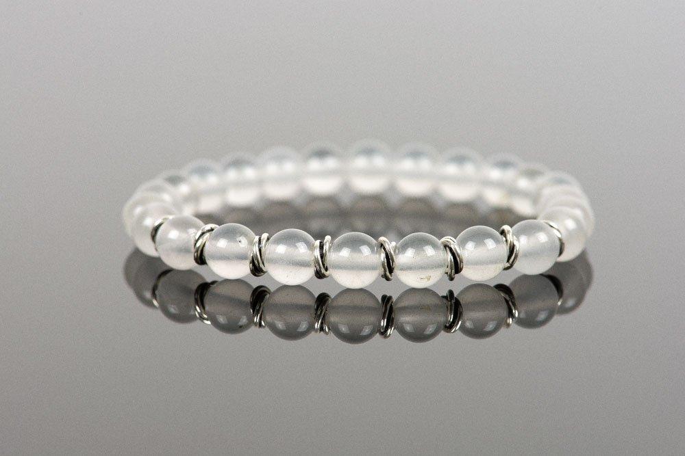 Milky Quartz Bracelet, Natural Gemstone Bracelet, White Bracelet
