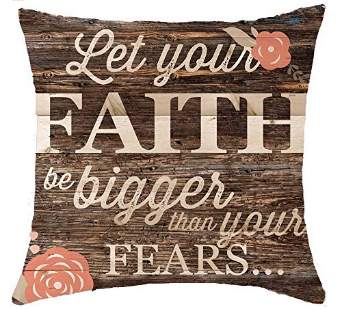 (Wooden Background Life Phrases Let Your Faith Be Bigger Than Your Fears Cotton Linen Throw Pillow Covers Case Cushion Cover Sofa Decorative Square 18 x 18 inch (2))