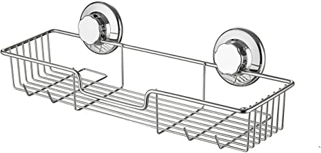 Iron Kitchen Bathroom Shower Shelf Storage Suction Basket Caddy Rack