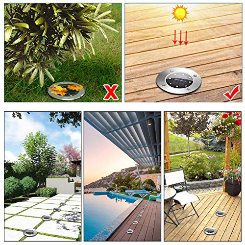 Solar Pathway Lights Outdoor, Solar Garden Light 8 LED, Water-Resistant for Garden, Path, Landscape, Patio, Driveway, and Lawn, Easy No-Wire Installation (4 Pack- White) by Subsistent (Image #3)