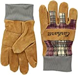 Carhartt Women's Suede Work Glove with Knit Cuff, Wild Rose Plaid, M