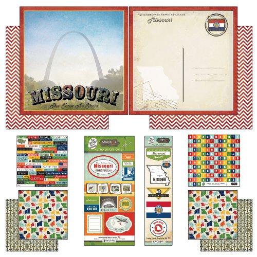 Scrapbook Customs Themed Paper and Stickers Scrapbook Kit, Missouri Vintage