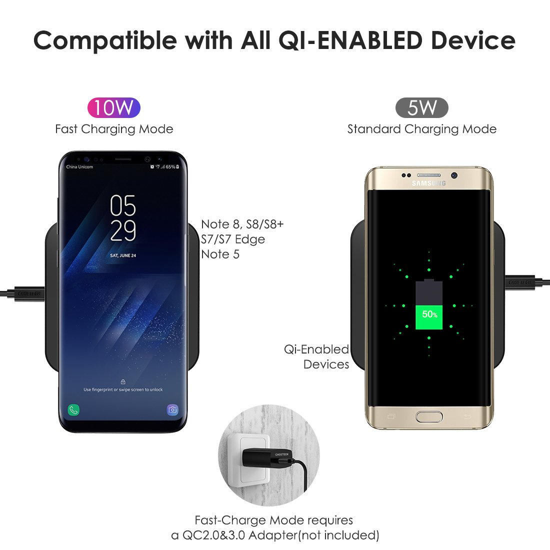 CHOETECH 10W Fast Wireless Charger Compatible Samsung Galaxy S9, S9 S8 Plus,Note 8, S8, S7, S7 Edge, Standard Wireless Charging Pad Compatible iPhone X, 8, 8 Plus (No AC Adapter) by CHOETECH (Image #3)