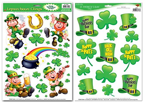 St. Patrick's Days Reusable Window Clings Vinyl Film Decorations - Leprechauns, Shamrocks, Hats, Pot of Gold, Rainbow & Horseshoe (30 Clings Total)