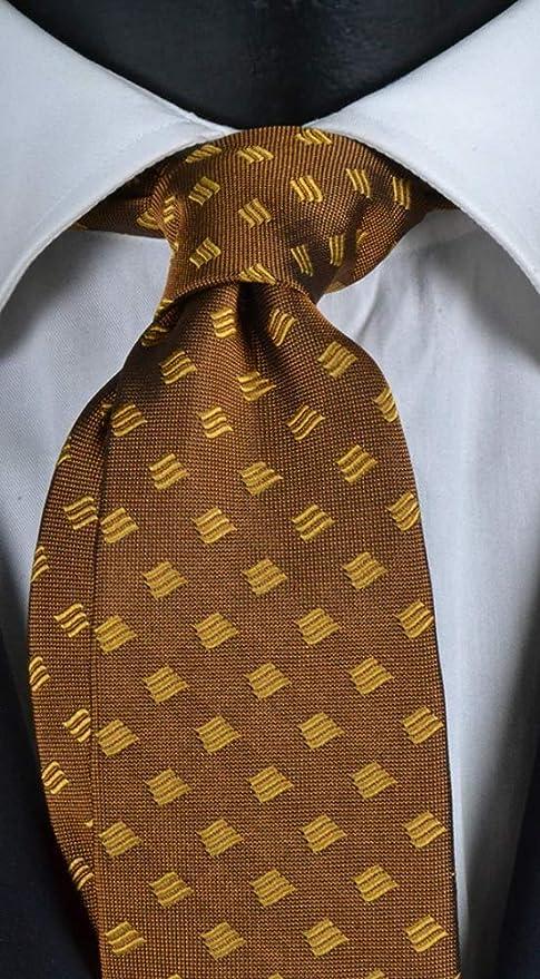 Corbata hombre amarillo oro con micro fantasía amarilla pura seda ...