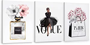 CoziTech Framed Women Fashion Canvas Wall Art for Girls Bedroom Decor, Pink Flower Modern Art Poster, Perfume Handbag Prints Watercolor Wall Pictures for Women Room Décor. Set of 3. 12x16in – (Ready to Hang)