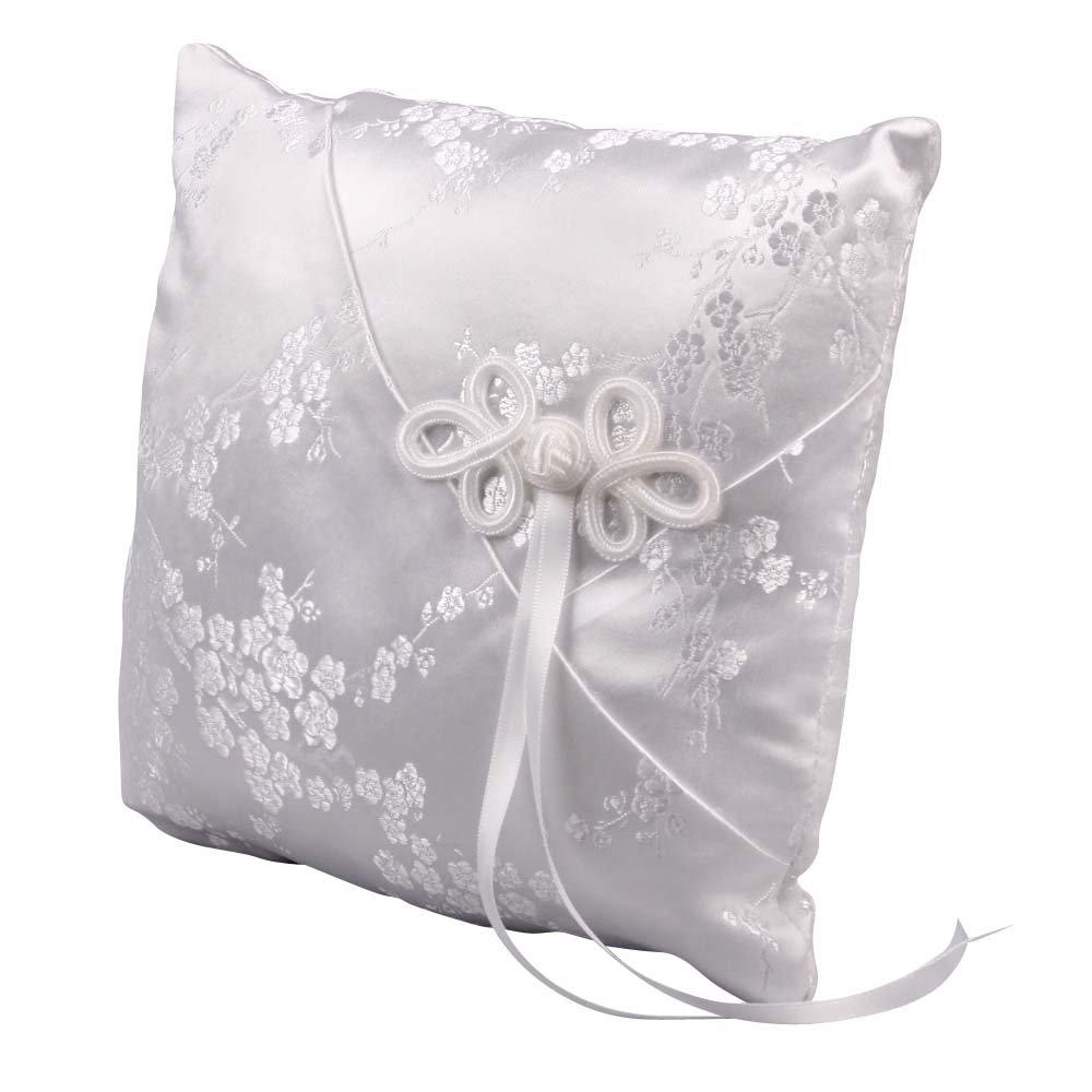 Ivy Lane Design Cherry Blossom Collection, Ring Bearer Pillow, White