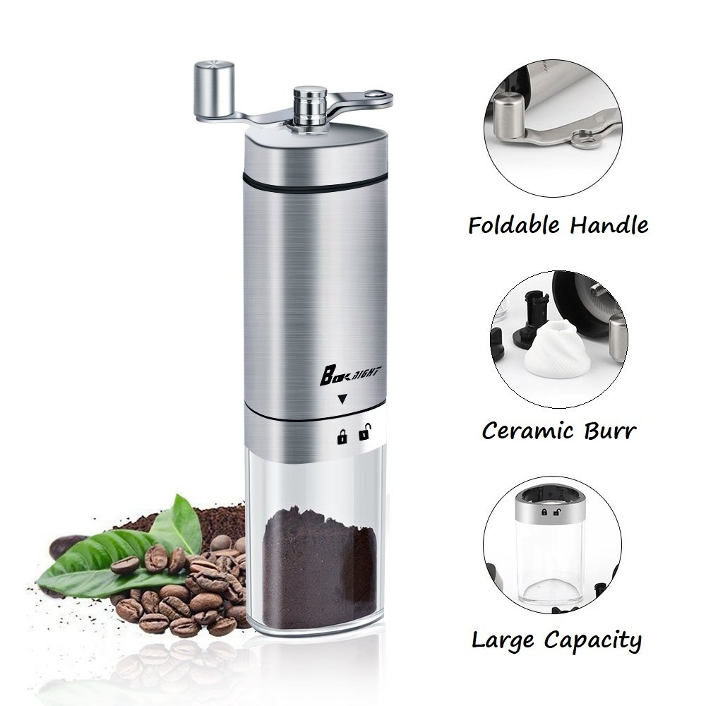 Manual Coffee Grinder, Coffee Mill with Conical Burr, Brushed Stainless Steel and Foldable Handle, Best Coffee Mill and Coffee Maker for Travel, Camping and Hiking