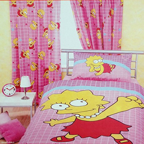 Children's Kids Boys 100% Cotton Bart The Simpsons Ready Made Bedroom Curtain Set With Tie Backs (66 inch x 54 inch) (Red) Character World