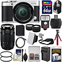 Fujifilm X-A3 Wi-Fi Digital Camera & 16-50mm II XC Lens (Silver) with 50-230mm II Len + 64GB Card + Backpack + Flash + Battery & Charger + 2 Lens Kit