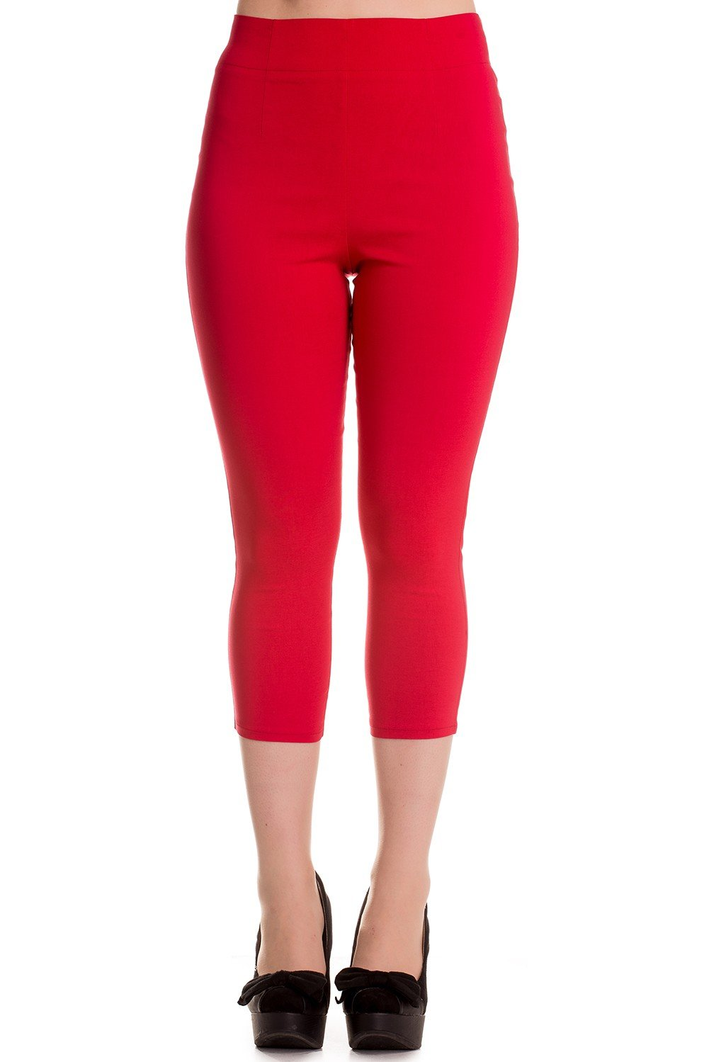 Hell Bunny Tina 50s Vintage Retro Style Capri Trousers 3/4 Length Pedal Pushers - Red (M)