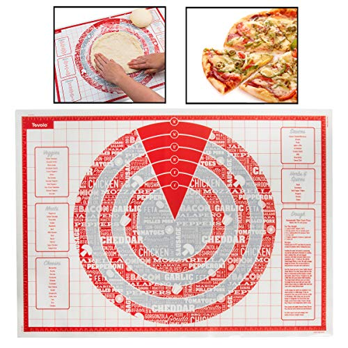 Tovolo Silicone Pizza Mat, Non-Stick, Printed with Dough Recipe, Sizing Guide, Dishwasher Safe