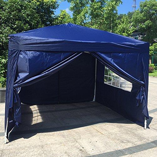 Kinbor 10'x10' Canopy Wedding Party Tent Heavy Duty Patio Outdoor Popup Gazebo White/Blue w/4 sides wall (Blue)