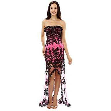 f3707618d82 Lemai Sheath Sheer Beaded Black Lace Gothic High Low Prom Dresses Fuchsia  US 2