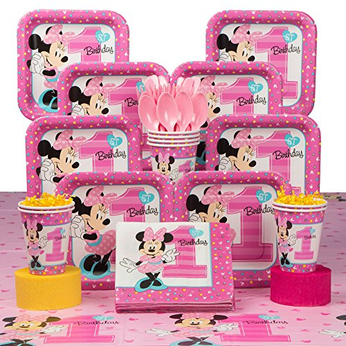 Costume SuperCenter Minnie Mouse 1st Birthday Deluxe Kit (Serves 8 Guests)