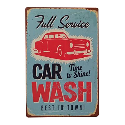 Winomo Metal Signs Wall Plaque Poster Vintage Full Service Car Wash Best In Town