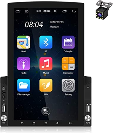 Hikity 10.1 Inch Android Car Stereo with GPS Double Din Car Radio Bluetooth FM Radio Receiver Support WiFi Connect Mirror Link for Android//iOS Phone Dual USB Input /& 12 LEDs Backup Camera