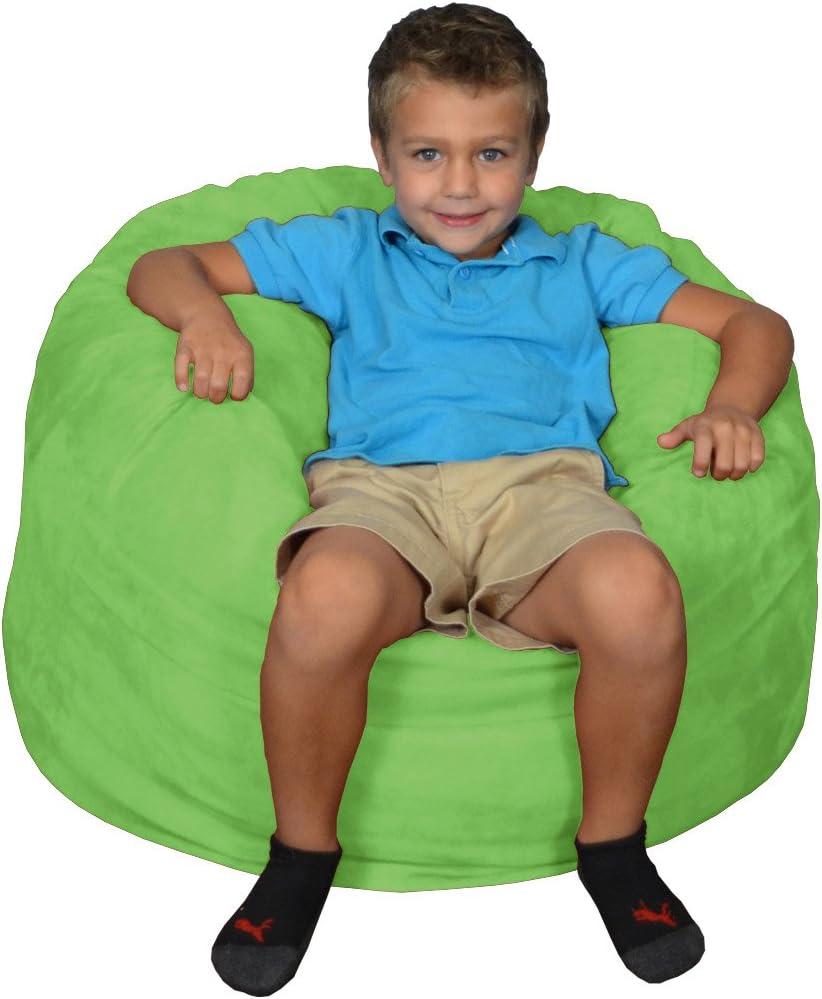 Comfy Sacks Kids Memory Foam Bean Bag Chair, Lime Micro Suede