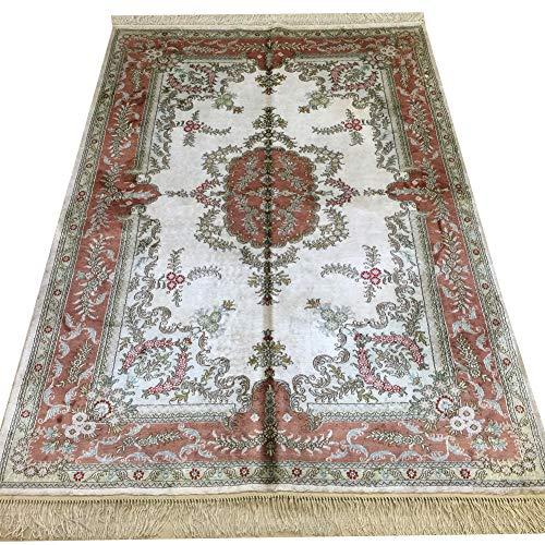 Yilong 4'x6' Handmade Silk Persian Rug for Living Room Oriental Qum Carpet