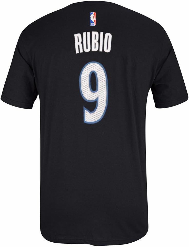Ricky Rubio NBA Minnesota Timberwolves Adidas hombres negro oficial reproductor nombre y número Jersey camiseta, L, Negro: Amazon.es: Deportes y aire libre